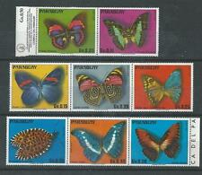 Paraguay - 1976 Butterflies - Un-mounted mint set