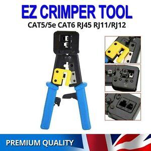 EZ Crimping Tool Crimper for Cat5e Cat6 RJ45 Network LAN Cable Pass Through End