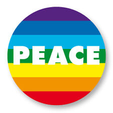 Pin Button Badge Ø38mm Peace and Love Paix Amour Arc en Ciel Gay LGBT