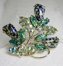 RARE!!!! CORO Foil Art Glass EASTER EGG Aurora Borealis RHINESTONE Pin Brooch
