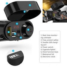 Motorcycle Handlebar Cigarette Lighter Dual USB Charger LED Voltmeter Vehicle