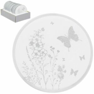 SMALL ROUND BUTTERFLY GLITTER MIRRORED CANDLE PLATE COASTER 10 CM