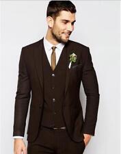 New Men Wedding Suit Best Man Groom Lapel Tuxedo Dark Brown Business Formal Wear