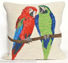 """THROW PILLOWS - """"TROPICAL PARROTS"""" HAND TUFTED PILLOW - 18"""" SQUARE"""