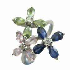 9ct White Gold 0.10ct Diamond Multi Color Three 3 Flower Fancy Ring Size R