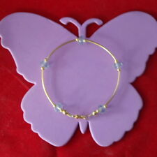 """BEAUTIFUL GOLD PLATED BRACELET WITH FACETED AQUAMARINE 8"""" INCH. LONG IN GIFT BOX"""