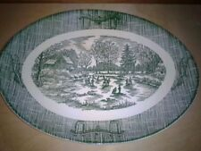 """Royal China Currier Ives Green Oval Platter 11 7/8"""""""