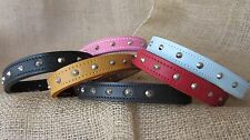 Leather dog collars, studded, 14ins to 26ins long.