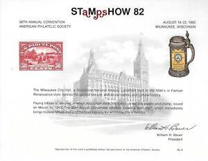 UNITED STATES - STAMPSHOW '82 PHILATELIC EXHIBITION SOUVENIR CARD
