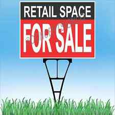 """18""""x24"""" RETAIL SPACE FOR SALE Outdoor Yard Sign & Stake Lawn Real Estate Store"""