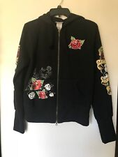 RARE Disneyland Mickey Mouse Large TATTOO ARMS ROSES Hoodie Sweatshirt NWHT