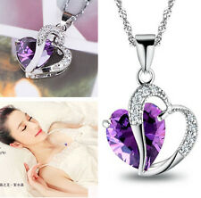 Party Silver Purple Amethyst Gemstone Heart Pendant Crystal NECKLACE Jewelry EY