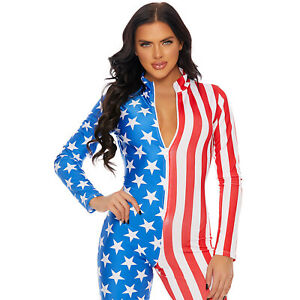 Flag Print Catsuit Stars Stripes Bodysuit Long Sleeves Zip Front Costume 113202