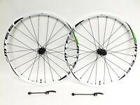 """Shimano MT66 26"""" MTB Wheelset 24 Spoke TLR QR CL Disc Brake White FRDW 0368"""