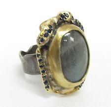 925 Silver & 18K Gold - Vintage Antique Moonstone & Sapphire Ring 10g - Sz 7