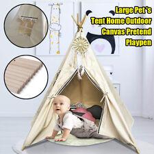 5 Poles Kids Teepee Tent Children Home Canvas Pretend Play Tipi Outdoor Indoor