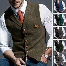 Herren Karierte Tweed-Westen Ärmellose Jacke Herringbone Vintage Business Weste