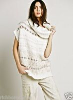 NEW Free People ivory Fairisle Maiden Cowl Neck Sweater Vest M
