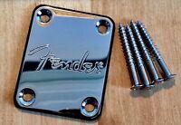 Fender Logo Chrome Neck Plate & Screws Squier Strat Tele Jag Bass, U.K seller