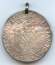 Saxony 1597 Thaler (#982) Soldered Ring at Top and Some Staining. Nice Detail.