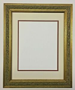 11x14 Ornate Gold Wooden Picture Frame & Your Choice of 8x10 Double Mat Colors