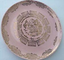 "Vtg 1963 Pebbleford Pink Colored 10"" Calendar Plate Taylor Smith & Taylor USA"