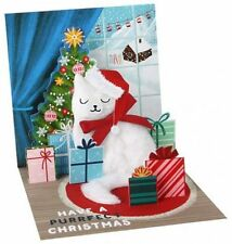 Santa Cat 3D Pop-Up Christmas Card Holiday Greeting Card Up With Paper