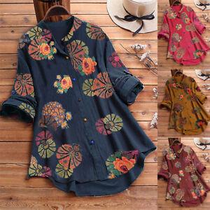 Womens Baggy Shirt Button Long Sleeve Cotton Linen Floral Blouse Tops Plus size