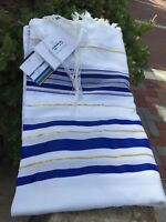 "Kosher Tallit Prayer Shawl acrylic 42X62""/107x160cm Made in Israel Blue&Gold N45"