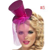 Ladies Mini Glitter Top Hat Headband Veil Burlesque Hen Night Party Fancy Dress