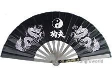 Black Stainless Steel Kung fu Tai chi Fan Martial arts Wushu Equipment
