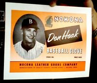 Nokona  Baseball  Glove Box  Label Don Hoak  Brooklyn Dodgers 'Official Reprint'