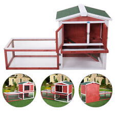 "61"" Wooden Hutch Chicken Coop Bunny Cage Deluxe Rabbit House Backyard w/Tray Run"