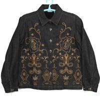Laura Ashley Womens Jean Jacket Blazer Black Size M Medium Embroidered Beaded