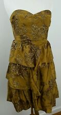 Anthropologie Moulinette Soeurs Gold brown Strapless tiered Dress Size 4