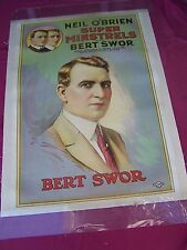 "1920'S ORIG. LINEN LINED POSTER, "" NEIL O'BRIEN'S SUPER MINSTRELS "" W/BERT SWOR"