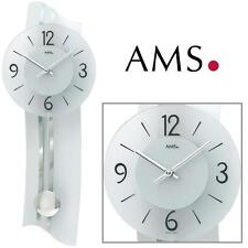 AMS Wall Clock 7239 Quartz With Pendulum Satin and Printed Mineral Glass