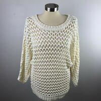 Tildon Womens Small Open Weave Cream Sweater