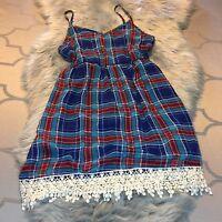 NWT Blue Rain Blue/Red Plaid Dress Crochet Details Size Large Super Cute!