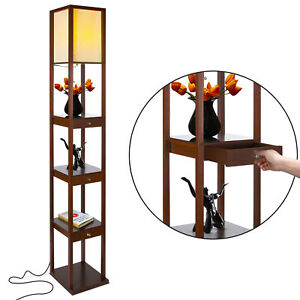 Brightech Maxwell Standing Tower Floor Lamp w/ Shelves and Drawers, Havana Brown