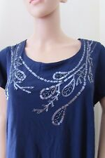 Very/Savoir Embellished Sequin T-Shirt  24 Navy