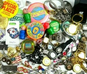 Junk Drawer Lot Vintage to Now Collectibles Toys Jewelry Pins Watches