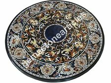 """50"""" Black Marble Conference Table Top Inlay Floral Art Housewarm Gift Decor"""