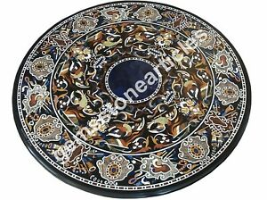 "50"" Black Marble Conference Table Top Inlay Floral Art Housewarm Gift Decor"