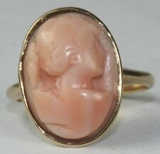 ANTIQUE 14K GOLD CORAL CAMEO LADIES RING SIZE 4.75