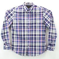 Banana Republic Soft Wash Tailored Slim Fit Purple Plaid Shirt Men's Size Medium