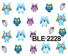 Colourful BLUE OWL Water Transfers Nail Art Sticker Decals UV Acrylic Decoration