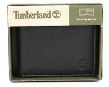 NEW TIMBERLAND MEN'S PREMIUM GENUINE LEATHER PASSCASE WALLET BLACK D10218/08