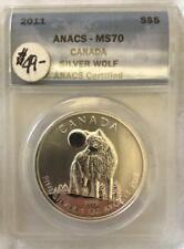 2011 CANADA SILVER WOLF 1 OZ. ANACS MS70
