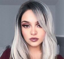 """Ombre Wig 18"""" Rose Net Short Straight Synthetic Gray Cosplay Sexy Full Wigs USA"""